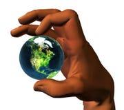 tierra 3D en la mano 3D ilustración del vector