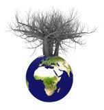 tierra 3d y árbol Imagen de archivo libre de regalías