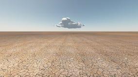Tierra agrietada seca con la nube