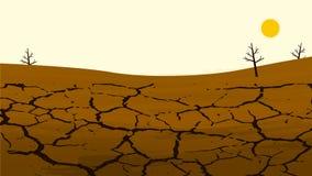 Tierra agrietada seca en el campo de cultivo Paisaje rural Elementos del diseño para la información ilustración del vector