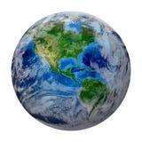 Tierra azul con las nubes, trayectoria del planeta de América, los E.E.U.U. del mundo global Foto de archivo libre de regalías