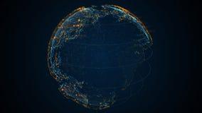 Tierra azul del planeta 3D del pixel con la animación grande de los datos El globo giratorio, los continentes brillantes con la f almacen de video