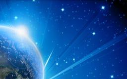 Tierra azul del planeta en espacio exterior Imagen de archivo libre de regalías