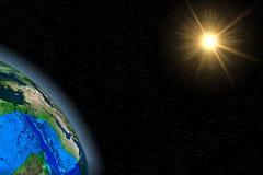 Tierra azul del planeta en la galaxia oscura fotos de archivo