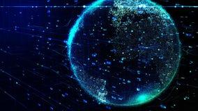 Tierra azul del planeta que gira en red cibernética futurista global stock de ilustración