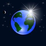 Tierra azul del planeta Visión desde el espacio a la tierra y al sol naciente Bola brillante estilizada Ilustración Fotografía de archivo libre de regalías