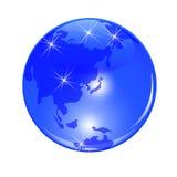 Tierra azul del planeta Visión desde Japón, China y el Extremo Oriente Bola brillante estilizada Ilustración Imágenes de archivo libres de regalías