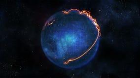 Tierra azul que da vuelta con las conexiones anaranjadas stock de ilustración