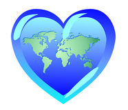 Tierra bajo la forma de corazón El mundo es amor Símbolos del pacifi Imágenes de archivo libres de regalías