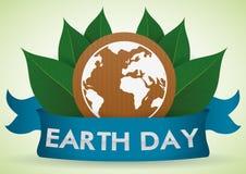 Tierra blanca en cartulina con las hojas detrás de la cinta del Día de la Tierra, ejemplo del vector Imágenes de archivo libres de regalías