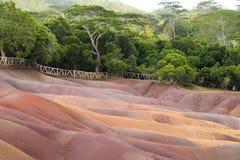 Tierra coloreada del volcán en Chamarel Imagen de archivo libre de regalías