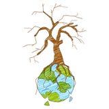Tierra con el árbol seco que muestra la destrucción Imagen de archivo