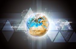 Tierra con el mapa del mundo ilustración del vector