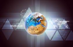 Tierra con el mapa del mundo stock de ilustración
