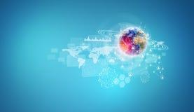 Tierra con el mapa del mundo, los gráficos y la red Foto de archivo