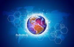 Tierra con hexágonos y el mapa del mundo stock de ilustración
