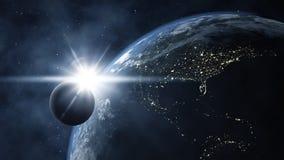 Tierra con la luna Fotos de archivo
