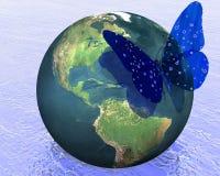 Tierra con la mariposa fresca ilustración del vector