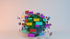 Tierra con la pantalla TV para las noticias stock de ilustración