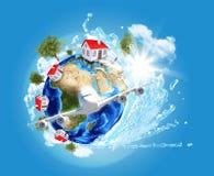 Tierra con las casas y el aeroplano ilustración del vector