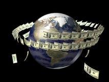 Tierra con los dólares del vuelo alrededor de ella Foto de archivo