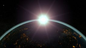 Tierra contra el sol naciente, atmósfera azul del planeta ilustración 3D ilustración del vector
