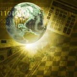 Tierra, dígitos y teclado en fondo del dinero Foto de archivo libre de regalías