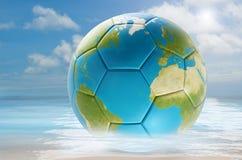 Tierra 3d-illustration del planeta del mundo del balón de fútbol Elementos de esto Fotografía de archivo