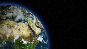 tierra 3d spining en el lado izquierdo del bastidor/del globo/del mundo libre illustration