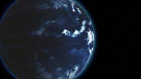 Tierra de colocación inconsútil cerca en noche del espacio el planeta gira y se mueve lentamente lejos paradas en el centro del b libre illustration
