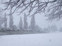 Tierra de deportes vacía cubierta con nieve Fotografía de archivo