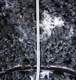 Tierra de la maravilla del invierno desde arriba fotos de archivo libres de regalías