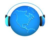 Tierra de la música con los auriculares Imágenes de archivo libres de regalías