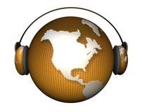 Tierra de la música con los auriculares Fotos de archivo libres de regalías
