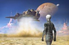 Tierra de la nave espacial en un planeta extranjero del desierto Imágenes de archivo libres de regalías