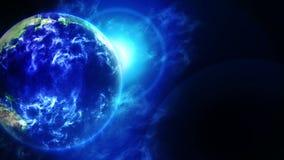 Tierra de la nube en espacio S?mbolo del negocio Tierra con el mar y atmósfera en la luz del sol Animaci?n del lazo ilustración del vector