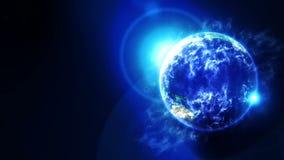 Tierra de la nube en espacio S?mbolo del negocio Tierra con el mar y atm?sfera en la luz del sol Animaci?n del lazo stock de ilustración