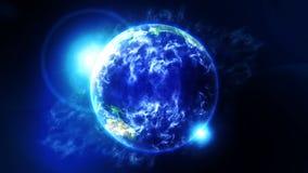 Tierra de la nube en espacio S?mbolo del negocio Tierra con el mar y atm?sfera en la luz del sol Animaci?n del lazo ilustración del vector