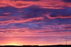 Tierra de la puesta del sol viva de Saskatchewan de los cielos Imagen de archivo