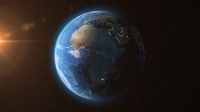 Tierra de las estrellas de la luz del sol del espacio - 3D animación 4K