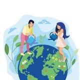 Tierra del amor, ejemplo plano de la metáfora del planeta ilustración del vector