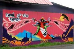 Tierra del arte de la pared de Namgis del `, bahía alerta, A.C. Foto de archivo libre de regalías