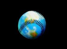 Tierra del béisbol de cuero Foto de archivo libre de regalías