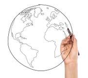 Tierra del dibujo del hombre de negocios imágenes de archivo libres de regalías