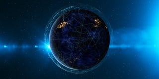 Tierra del espacio en la noche con un sistema de comunicación digital 3 fotografía de archivo libre de regalías
