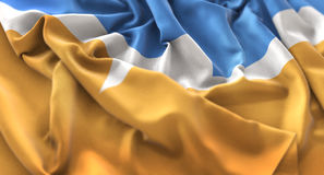 Tierra del Fuego Flag Ruffled Beautifully che ondeggia macro primo piano Immagini Stock Libere da Diritti