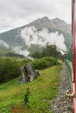 Tierra del Fuego landscape. USHUAIA, ARGENTINA - FEBRUARY 2, 2006 :  The Train of the End of the World passing through the Tierra del Fuego National Park in Stock Images