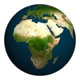 Tierra del planeta África, parte de Europa y de Asia Foto de archivo libre de regalías