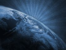 Tierra del planeta como ilustración con los rayos stock de ilustración
