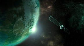 Tierra del planeta con el satélite Fotos de archivo libres de regalías